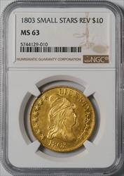 1803 Draped Bust $10 Eagle Small Stars Reverse - NGC MS63