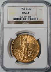 1908-S $20 Saint-Gaudens - NGC MS63