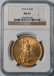 1924-D $20 Saint-Goudens - NGC MS62