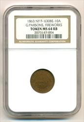 Civil War Token 1863 New York NY G Parsons - Fireworks F-630BE-10a R9 MS64 RB NGC