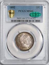 1892 Barber Quarter -- PCGS MS66 CAC