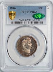 1896 Barber Quarter -- PCGS PR67 CAC