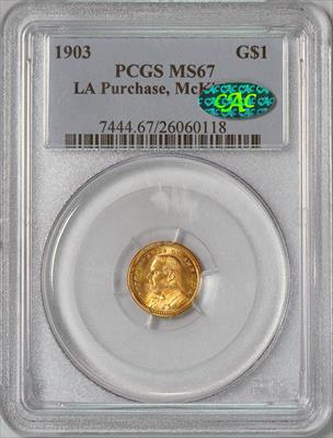 1903 LA Purchase, McKinley G$1 -- PCGS MS67 CAC