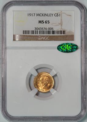 1917 McKinley G$1 -- NGC MS65 CAC