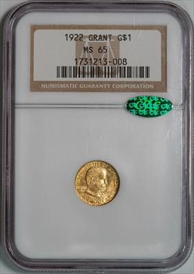 1922 Grant No Star G$1 -- NGC MS65 CAC