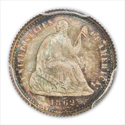 1862 SEATED H10C PCGS MS67+ CAC