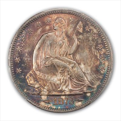1873 SEATED 50C ARROWS PCGS MS64+
