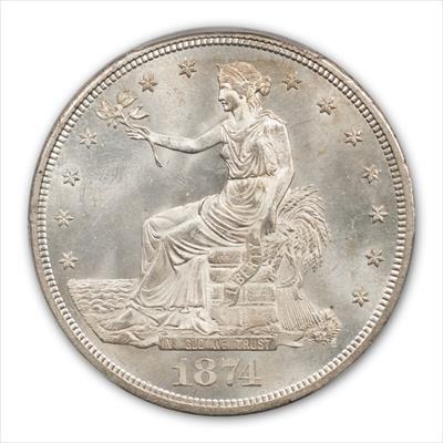 1874-CC TRADE T$1 PCGS MS65
