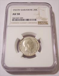 Sarawak (Malaysia) Charles V Brooke 1927 H Silver 20 Cents AU58 NGC