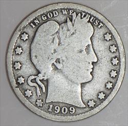 1909-O Barber Quarter; Nice Original VG