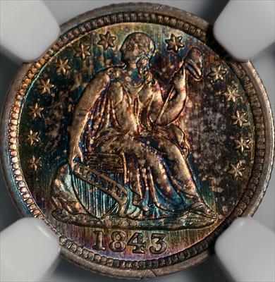 1843 Seated Liberty Half Dime -- NGC MS68