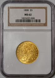 1808 Capped Head $5 Half Eagle Sharp -- NGC MS62