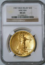 1907 $20 Saint High Relief Wire Rim -- NGC MS65