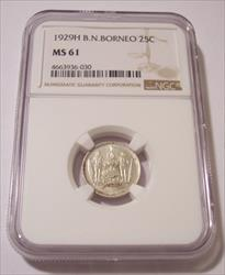 British North Borneo 1929 H Silver 25 Cents MS61 NGC