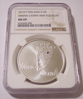 Finland 2010 P Silver 10 Euro Minna Canth and Equality MS69 NGC Low Mintage