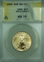 1999  American Eagle 1/2 Oz $25 AGE  ANACS