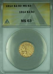 1914 Indian Quarter Eagle $2.50   ANACS Choice BU