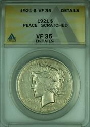 1921 Peace   $1  ANACS Details Scratched