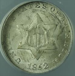 1852  Three Cent Piece 3c  ANACS