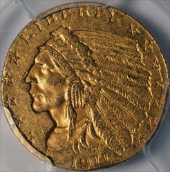 1911-D $2.5 Indian -- PCGS AU Details
