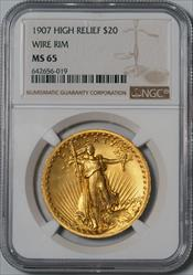 1907 $20 Saint High Relief, Wire Rim -- NGC MS65