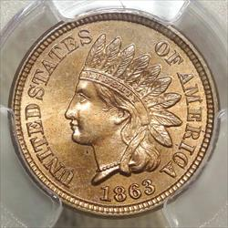 1863 Indian Cent, PCGS MS-65, Gem Type Coin