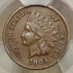1864-L Indian Cent, 1864/1864 Repunched Date, S-1, FS-2301, PCGS XF-45