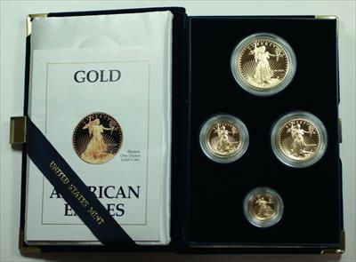 1990 American Eagle  Proof 4  Set AGE in Box w/ COA Roman Numerals
