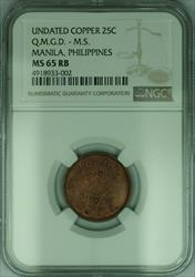 General Depot Medical Supply US Copper Token 25c Manila Philippines NGC  RB