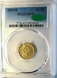 1844 D $2.50   PCGS CAC  Dahlonega Quarter Eagle  Liberty Head