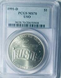 1991-D USO Silver Dollar Commemorative - PCGS  _ Mint State 70