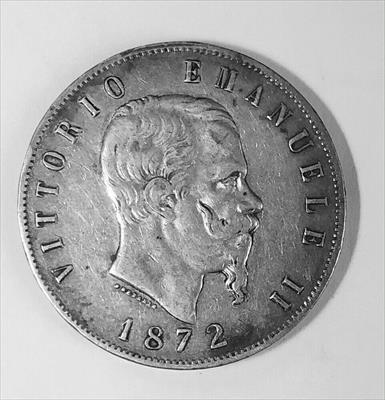 1872 - MBM Italy Silver 5 Lire - 25 Grams - Ungraded Extra Fine