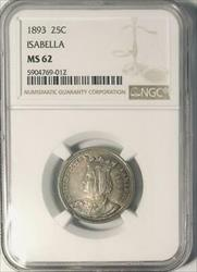 1893 Isabella Commemorative Silver Quarter Dollar - NGC -  - Mint State 62