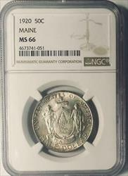 1920 Maine Commemorative Silver Half Dollar - NGC  Mint State 66