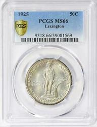 1925 Lexington Commemorative Silver Half Dollar - PCGS  - Mint State 66