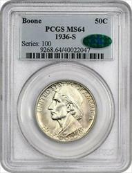 1936-S  Boone Commemorative Silver Half Dollar - PCGS  - Mint State 64 CAC