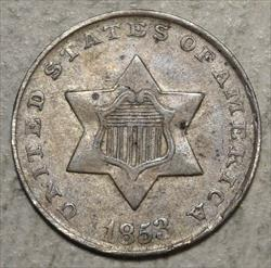 1853 Three Cent Silver, Extremely Fine