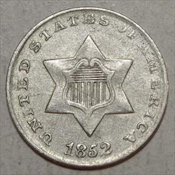 1852 Three Cent Silver, Almost Uncirculated