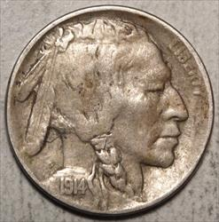1914-D Buffalo Nickel, VF/EF, Key Date