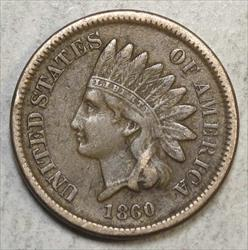 1860 Indian Cent, Round Bust, Very Fine