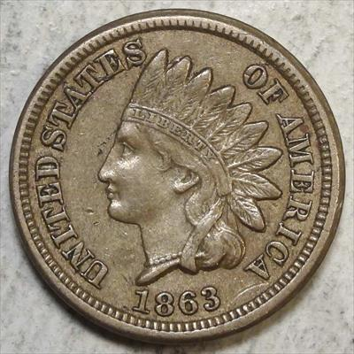 1863 Indian Cent, Extremely Fine+, Heavy Reverse Die Cracks