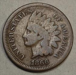 1866 Indian Cent, Good+ with Full Bold Rim