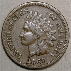 1867 Indian Cent, Nice Mid Grade Coin, Better Date