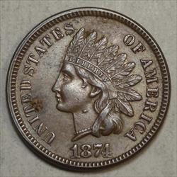 1874 Indian Cent, Choice Almost Uncirculated, Unusual Die Chip