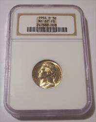 1944 D Jefferson Silver Nickel MS67 FS NGC