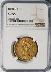 1860-S $10 Eagle -- NGC AU55
