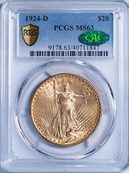 1924-D $20 Saint Gaudens -- PCGS MS63 CAC