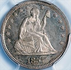 1857 Seated Liberty Quarter -- PCSG MS66
