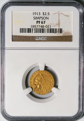 1913 $2.5 Indian -- NGC PF67