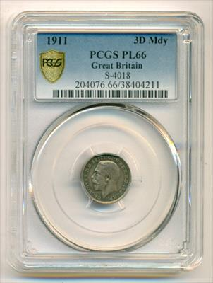 Great Britain George V 1911 Silver 3 Pence  Maundy PL66 PCGS Low Mintage